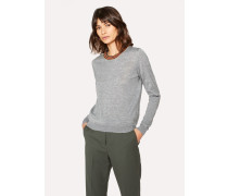 Grey Wool Sweater With 'Artist Stripe' Collar