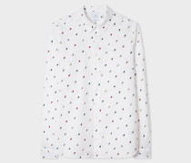 Slim-Fit White 'Ice Lolly' Print Shirt