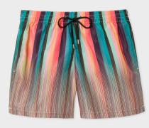 Mixed-Stripe Print Swim Shorts