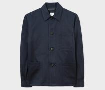 Navy Linen-Blend Chore Jacket