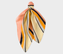 Pink Diagonal-Stripe Silk Square Neckerchief