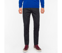 Slim-Fit Dark Navy Stretch-Cotton Twill Trousers