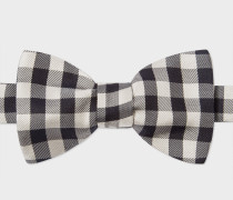Black And White Gingham Silk Bow Tie