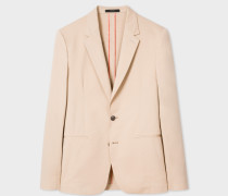 Tailored-Fit Sand Stretch-Cotton Twill Blazer