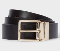 Black And Signature Stripe Leather Cut-To-Fit Reversible Belt Kit