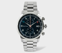 Black And Stainless Steel 'Block' Chronograph Watch