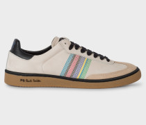Ivory Nubuck Leather 'Yuki' Trainers With Stripe Detail