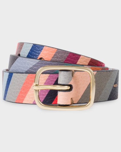 'Swirl' Print Calf Leather Belt