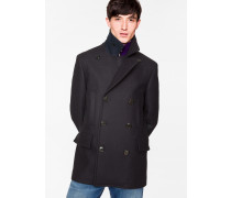 Navy Wool And Cashmere-Blend Peacoat