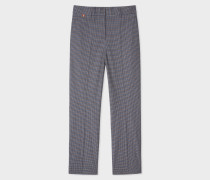 Slim-Fit Grey Check Stretch-Cotton Trousers