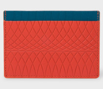 No.9 - Scarlet Red Leather Card Holder With Multi-Coloured Card Slots