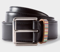 Black Leather Belt With Signature Stripe Keeper