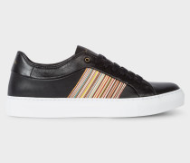 Black Leather 'Ivo' Trainers With Signature Stripe Panels