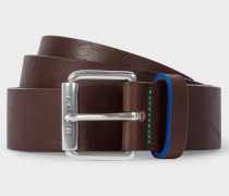 Chocolate Brown Leather Belt With 'Cycle Stripe' Details