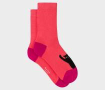 Coral 'Cat' Motif Socks