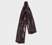 Black Feather Jacquard Silk-Blend Scarf