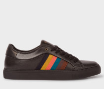 Black Leather 'Ivo' Trainers With Artist Stripe Panels