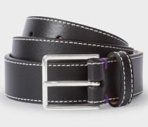 Black Leather 'Mini Graphic Edge' Belt