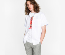 Classic-Fit White Cotton And Linen-Blend Short-Sleeve Shirt