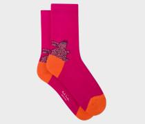 Raspberry 'Rabbit' Motif Socks