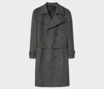 Grey Herringbone Wool-Cashmere Double-Breasted Belted Overcoat