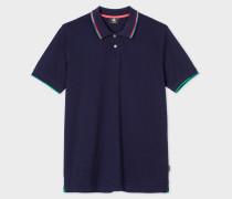 Navy Cotton-Piqué Polo Shirt With Collar Tipping