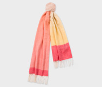 Pink And Yellow Ombré Lambswool And Cashmere Scarf
