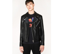 Black Leather Asymmetric-Zip Biker Jacket