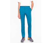 Slim-Fit Turquoise Stretch-Cotton Trousers