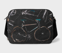 Black 'Paul's Bike' Print Messenger Bag