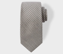 Grey Dogtooth Pattern Wool-Blend Tie