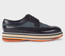 Navy Leather 'Grand' Brogues With Striped Soles