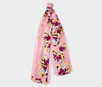 Pink Stripe Floral Scarf