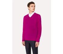 Dark Fuchsia V-Neck Merino Wool Sweater