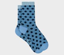 Light Blue Fluffy Polka Dot Socks