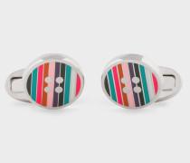 Striped Button Cufflinks