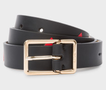 Black 'Heart' Calf Leather Belt