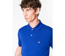 Slim-Fit Blue Cotton-Piqué Polo Shirt With Embroidered 'Rainbow'