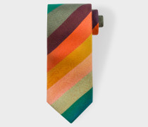 'Artist Stripe' Narrow Silk Tie With Hawaiian Lining