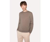 Taupe Crew-Neck Merino Wool Sweater