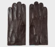Chocolate Brown Leather 'Artist Stripe' Trim Gloves