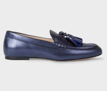 Metallic Navy Leather 'Willow' Tasseled Loafers