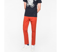 Slim-Fit Burnt Red Stretch-Cotton Trousers