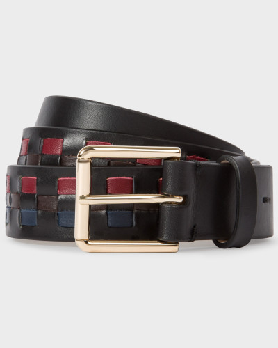 Black Woven Check Leather Belt