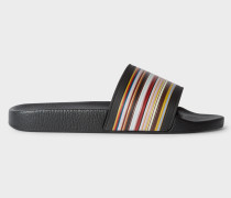 Black 'Ruben' Slides With 'Signature Stripe' Detail
