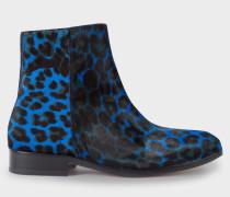 Blue Leopard Print Calf Hair 'Brooklyn' Boots