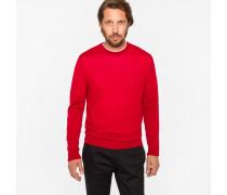 Red Merino Wool Crewneck Sweater
