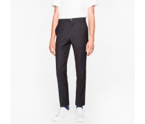Slim-Fit Navy And Brown Check Wool Trousers