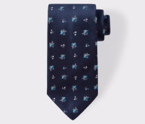 Navy 'Wild Flower' Pattern Silk Tie