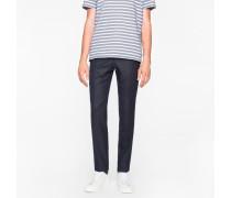Slim-Fit Navy Wool-Hopsack Trousers